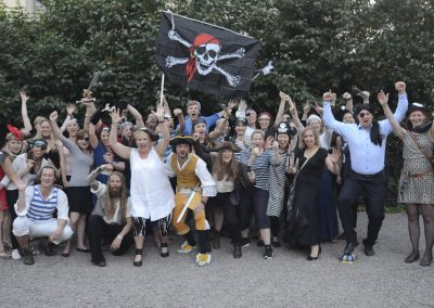 Our farewell dinners are theme parties, like Pirates and Vikings