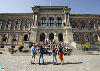 A group picture taken at the university building