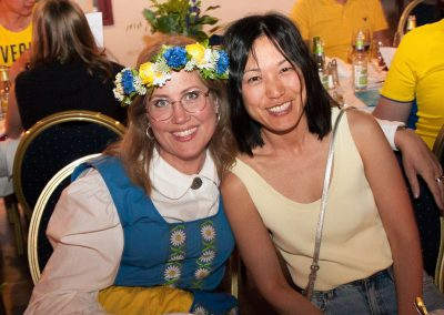 "Even the teachers come to the parties! Teachers Frida and Sofia at the Farewell Dinner themed ""Typically Swedish"""