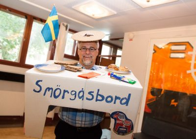 "Student dressed up as a traditional Swedish ""smörgåsbord"" for the Farewell Dinner themed ""Typically Swedish"""